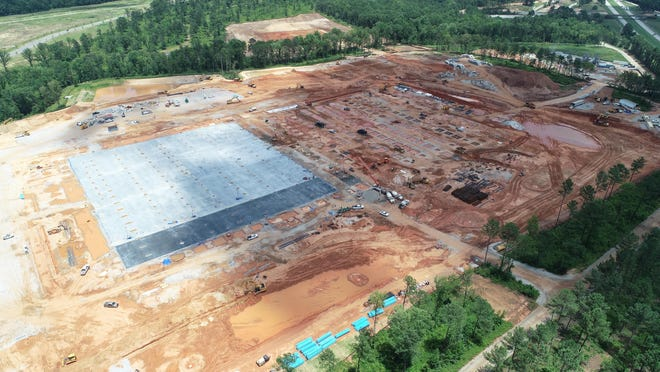 An aerial image taken over the summer shows part of the foundation for the new Amazon fulfillment center in Columbia County's White Oak Business Park off Interstate 20 near Appling.