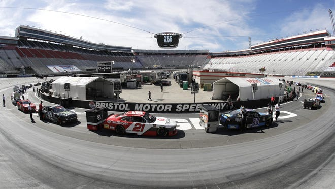 In this picture made with a fisheye lens, cars are readied for a NASCAR Xfinity Series race at Bristol Motor Speedway on Monday, June 1, in Bristol, Tenn.