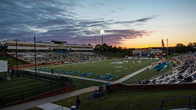 The sun sets on Saturday evening as the Georgia Southern football team plays host to the University of Massachusetts at Paulson Stadium in Statesboro. Georgia Southern won 41-0.
