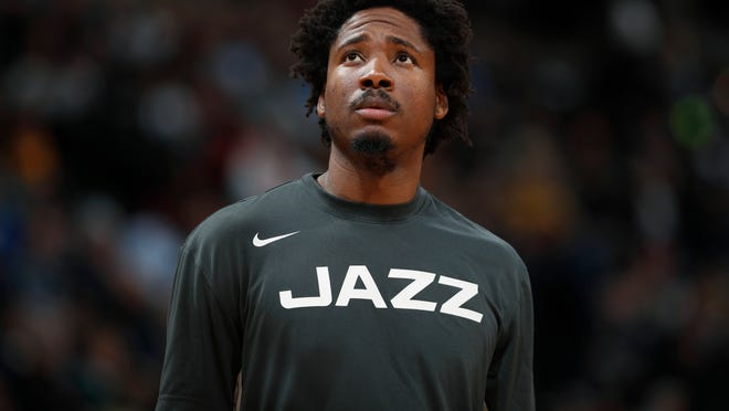 FILE - In this Jan. 30, 2020, file photo, Utah Jazz center Ed Davis looks up during the second half of the team's NBA basketball game against the Denver Nuggets in Denver. The Minnesota Timberwolves acquired Davis from the New York Knicks for Jacob Evans III, Omari Spellman and a 2026 second-round draft pick in a trade finalized Tuesday, Nov. 24. (AP Photo/David Zalubowski, File)