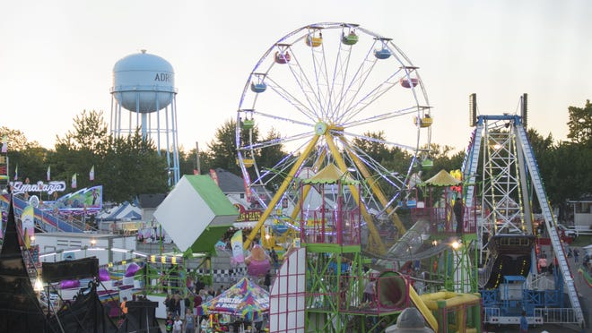 The Lenawee County Fair midway is pictured July 27, 2017. The Lenawee Agriculture Society, which presents the fair, announced Friday it has canceled the 2020 fair due to the coronavirus pandemic.