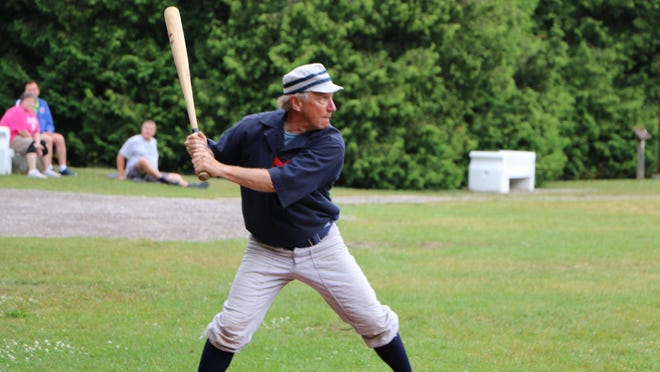 """Phil """"Pops"""" Porter, Mackinac State Historic Parks director, is a founding member of the Never Sweats and the starting shortstop. Contributed photo"""