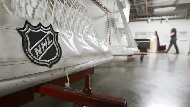 Goals used by the NHL hockey Nashville Predators are stored in a hallway in Bridgestone Arena Thursday, March 12, 2020, in Nashville, Tenn. The NHL announced Thursday it is suspending its season indefinitely in response to the coronavirus.
