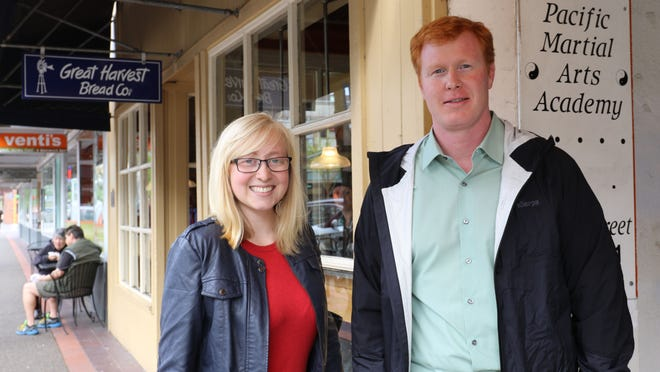 Willamette University senior Lauren Travis and Joe Abraham, director of Willamette University's sustainability initiative, were drumming up support for Upcycle Oregon coming up this weekend at the Capitol.