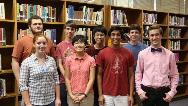Back row from left: Noah D. Sorkey, Ryan E. Shacklettet, Vincent Huang, Caleb D. Basinger. Front row from left: Rebekah L. Bryant, Amy L. Ren, Neil Nathan, Matthew J. Carman. Not pictured are: Benjamin S. Maxey and Abhishek S. Shah