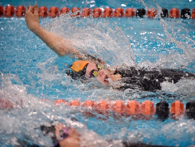 Palmyra's Kate Hess swims in the Girls 200 Yard Medley