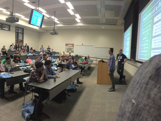 Participants in a previous Startup Weekend Pensacola pitch their business ideas at the University of West Florida. This year's competition takes place at Pensacola Socialdesk,  3695 North L St.