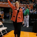 Tennessee coach Pat Summitt waves to fans as she enters the Thompson-Boling Arena before a game against San Francisco in 2008. She will have the South Rotunda at the Women's Basketball Hall of Fame named after her at a ceremony in June.