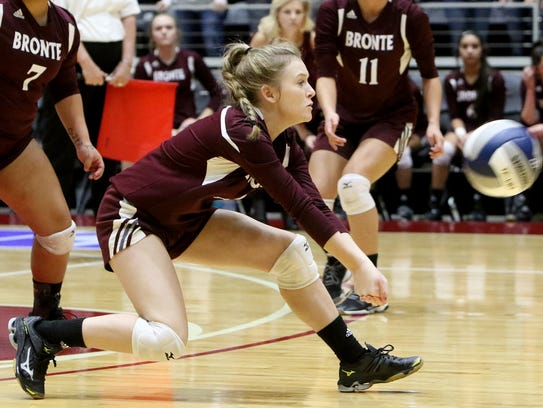 Bronte's Searra Powell had 15 digs in the Class 1A UIL State Championship match against Blum.
