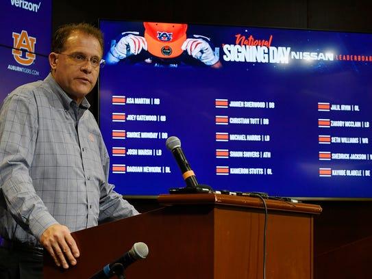 Auburn coach Gus Malzahn talks about recruits signed