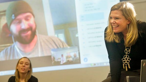Kari Pricher, right, an editorial producer for Anderson Cooper 360, interview former Navy SEAL Jimmy Hatch about their relationship as he prepared to tell his story on the CNN program. Pricher led two trauma journalism-related sessions at the York Daily Record on Dec. 7.