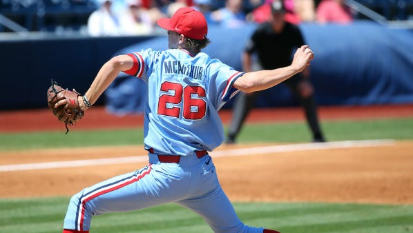 Starting pitcher James McArthur has a 1.62 ERA over his past seven outings, earning him a start Saturday in No. 12 Ole Miss' home series against No. 13 LSU that starts Thursday.