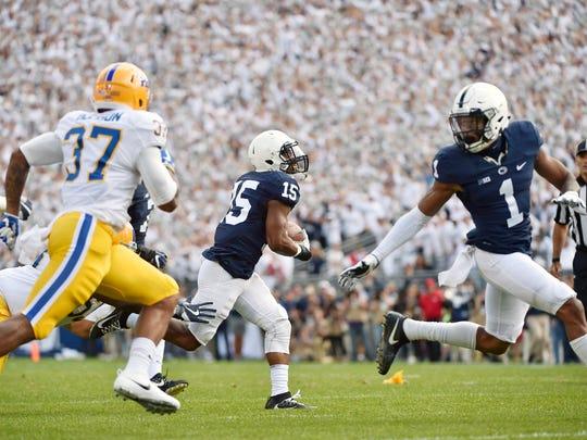 Penn State's Grant Haley returns the ball 42 yards