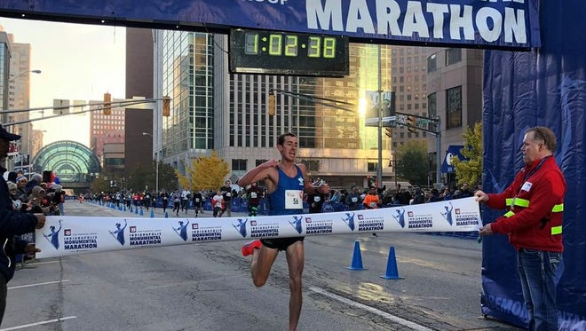 Former Drake runner Brogan Austin, after winning the Indianapolis Monumental Marathon in a new course record.