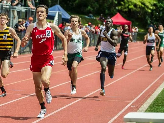 Ocean's Elliot Gindi leads the pack at the finish of the Boy's 800 heat at the NJSIAA Central II and III Track and Field Championships at Bernards High School in Bernardsville, May 27, 2017.