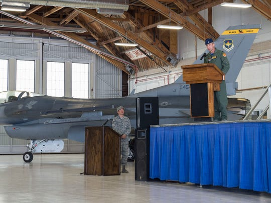 Col. James Keen, 54th Fighter Group commander, gives a speech during the 8th Fighter Squadron activation ceremony at Holloman Air Force Base, N.M. Aug. 4, 2017. The 8th FS has been reactivated six years after its last inactivation May 13, 2011. The 8th FS, which was first activated at Selfridge Field, Mich., Jan. 16, 1941, has maintained and piloted various styles of aircraft, including the P-40 Warhawk, the P-38 Lightning, the F-117 Nighthawk and the F-22 Raptor.