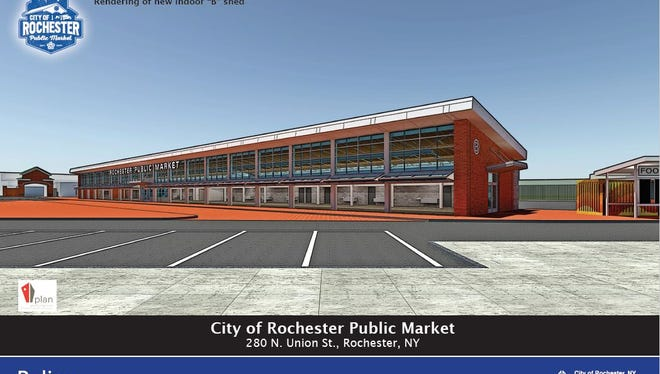 An artist's rendering shows one of the new sheds at the Rochester Public Market