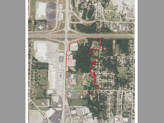 An aerial map showing the boundaries of the proposed Talmage Redevelopment Area.