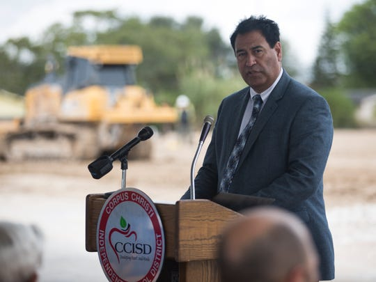 CCISD Superintendent Roland Hernandez speaks to community members during the Windsor Park Elementary ground breaking ceremony on Tuesday, Oct. 31, 2017.
