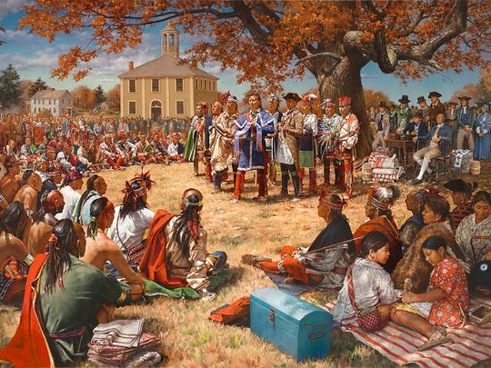 Danny and Stency Wegman commissioned Robert Griffing to paint this depiction of the treaty signing; Israel Chapin appears near the tree, fourth from the right.