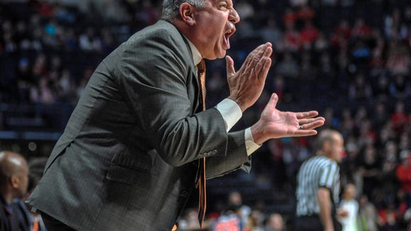 Auburn head coach Bruce Pearl reacts against Mississippi during the first half of an NCAA college basketball game at the Pavilion at Ole Miss on Wednesday, Jan. 27, 2016.