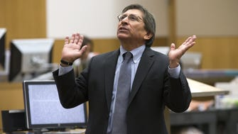 Deputy Maricopa County Attorney Juan Martinez was admonished by the State Bar of Arizona and placed on one year of probation. Here, he presents his final arguments during the sentencing phase retrial of Jodi Arias at Maricopa County Superior Court in Phoenix on February 24, 2015.