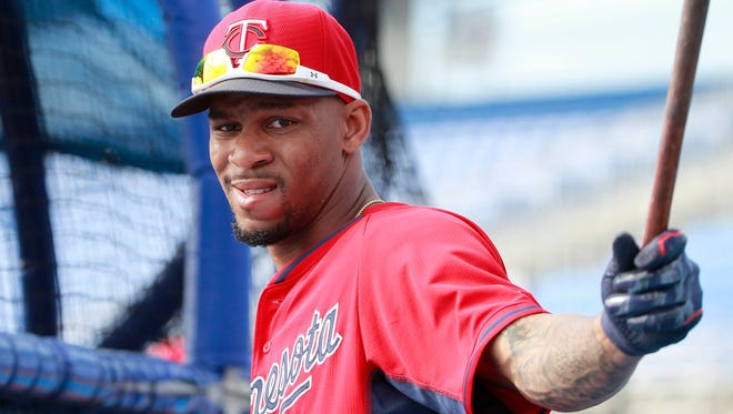 Minnesota Twins center fielder Byron Buxton (70) works out prior to the spring training game against the Toronto Blue Jays at Florida Auto Exchange Park on Mar 10, 2015.