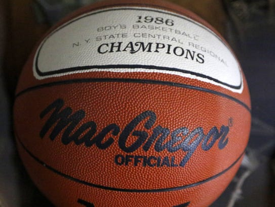 A basketball honoring Odessa-Montour's Class C state