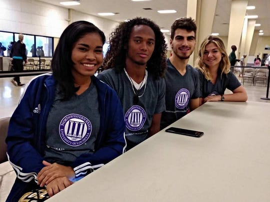 Four Spanish-speaking international students and a faculty member from Northwestern State University volunteer at the Louisiana State Emergency Mega Shelter in Alexandria as translators for evacuees from southeast Texas driven north by Hurricane Harvey. Telba Espinosa, director of NSU's International Student Resource Center, accompanied students Daniela Salas, Nestor Mercado-Garcia, Rafael Caitlin-Atienzar and Anna Cardaba-Garcia helping Spanish-speakers who were among the 2,500 evacuees at the shelter.  NSU has nearly 100 international students enrolled, many of them from Central and South America.