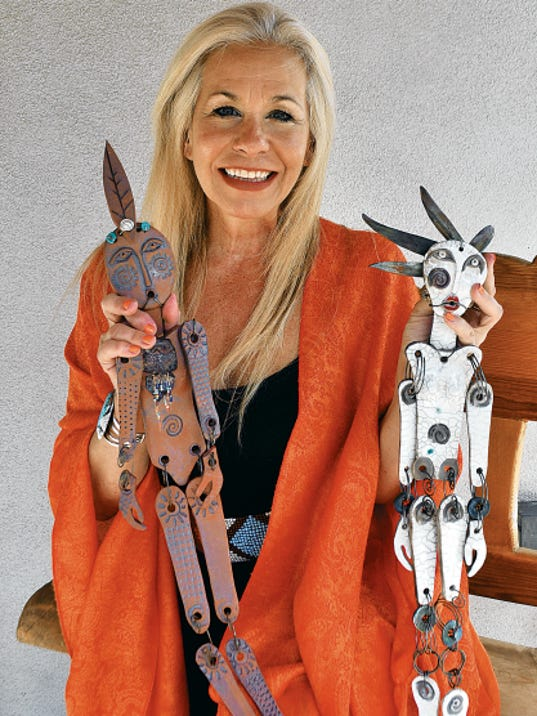 Artist Maggie Brown shows her latest artistic creations, ceramic puppets that incorporate the skills she has cultivated over the years.