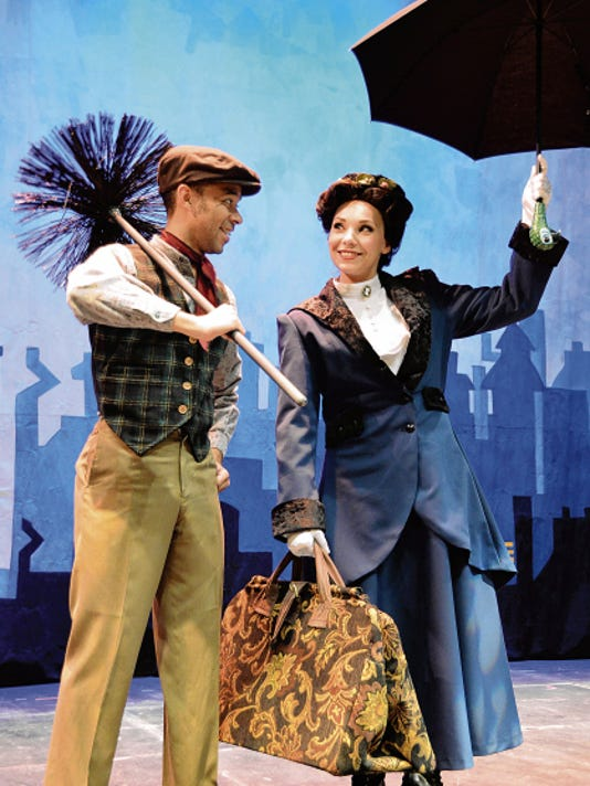 """Allen Thompson as Bert and Josey Mitchell as Mary Poppins highlight the UTEP Dinner Theatre's performance of the popular musical """"Mary Poppins."""""""