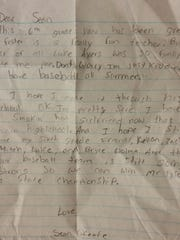 Saline senior Sean O'Keefe wrote this letter to himself