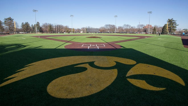 The installation of AstroTurf in the outfield at Duane Banks Field was completed last month.