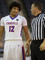 Evansville sophomore Dru Smith is frustrated at the early foul trouble he's been in recently.