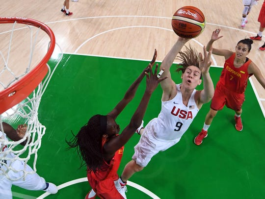 Breanna Stewart shoots during the Olympic gold medal