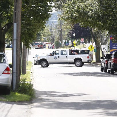 Police in Sayre blocked off Packer Avenue due to a