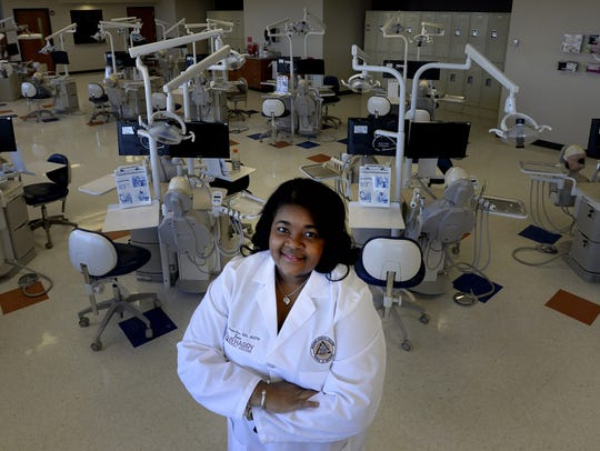 Meharry's School of Dentistry Dean, Dr. Cherae Farmer-Dixon, stands in a clinical lab room on Tuesday, March 6, 2018, in Nashville, Tenn.