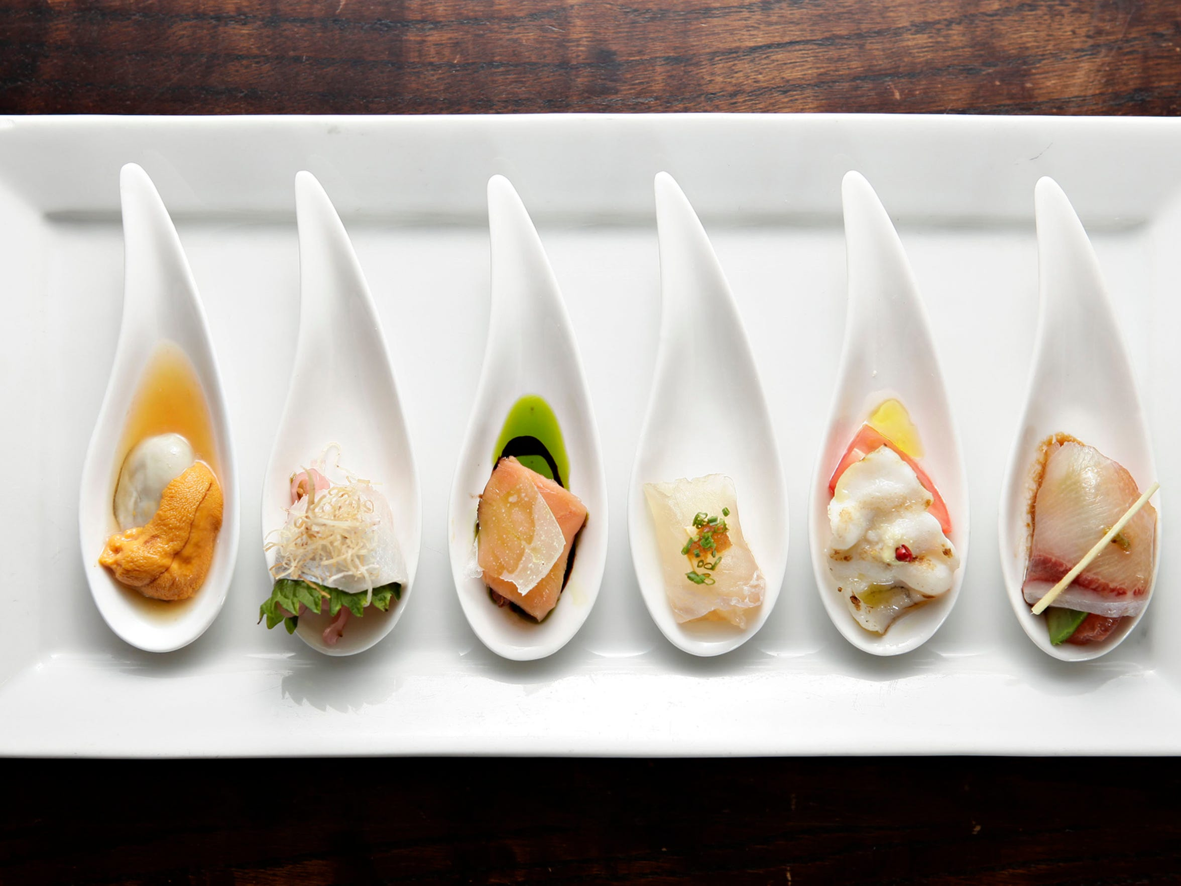The daily selection of sashimi, served six ways, at Nobuo at Teeter House in downtown Phoenix's Heritage Square.