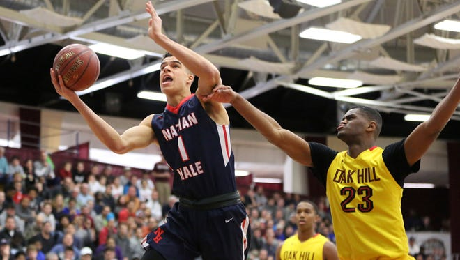 Nathan Hale's Michael Porter Jr. drives to the basket against Oak Hill Academy (Va.) during the 2017 Hoophall Classic last week in Springfield, Mass. Porter, a University of Washington commit, is averaging 36 points and 16 rebounds per game.