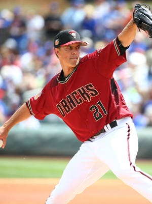 Arizona Diamondbacks pitcher Zack Greinke warms up for the Chicago Cubs during spring training action on Mar. 23, 2017 at Salt River Fields in Scottsdale, Ariz.