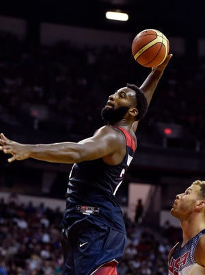 Andre Drummond goes up for a dunk during the second half of a U.S. men's basketball intrasquad game, Thursday in Las Vegas.