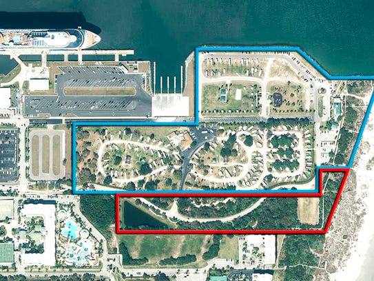 This is a aerial view of Jetty Park at Port Canaveral.