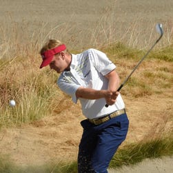 Billy Hurley III hits out of a bunker on the 15th hole during practice rounds at Chambers Bay, Wash., on June 17, 2015.