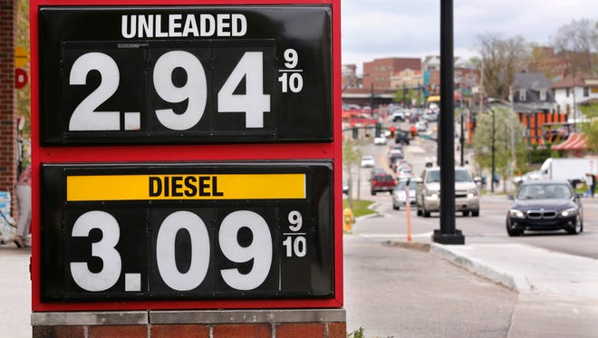 Gas prices are posted outside the Speedway Friday, May 4,  2018, at 265 E. State Street in West Lafayette.