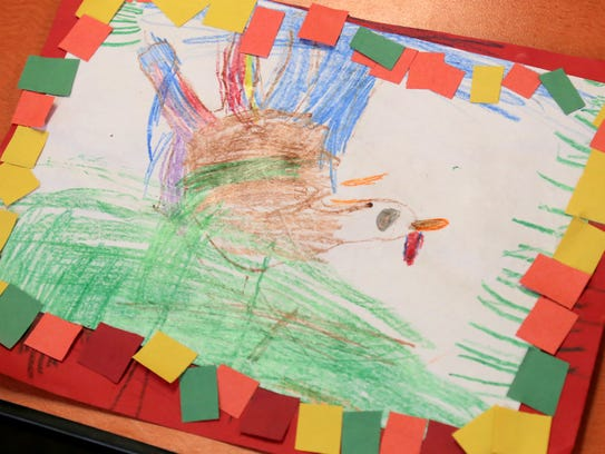 Hand drawn turkeys were displayed on placemats during
