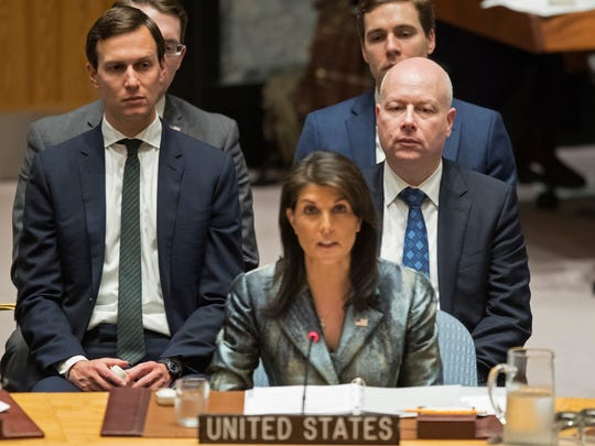 In this Feb. 20, 2018 file photo, Jared Kushner, left, and Jason Greenblatt, right, listen as American Ambassador to the United Nations Nikki Haley speaks during a Security Council meeting on the situation in Palestine at United Nations headquarters. On their current Mideast tour, senior Trump administration officials Kushner and envoy Jason Greenblatt are getting a close-up view of towering obstacles to their yet-to-be-released blueprint for an Israeli-Palestinian peace deal.