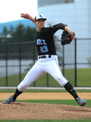 Ryan Aquino went the distance for Rye Neck in the NY State Class B semi final game at Binghamton University, June 14, 2014.  Rye Neck beat Livonia, 8-0.