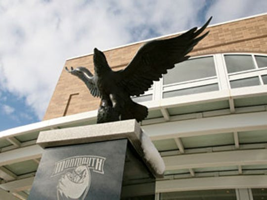 Brian Hanlon's hawk statue outside of Monmouth University's basketball arena. A much bigger one is on the way.