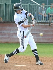 Abilene High pinch hitter Reese Pettijohn ropes a two-out double to score the tying and winning runs in the Eagles' 7-6 walk-off win over Keller Fossil Ridge on Friday at Blackburn Field.