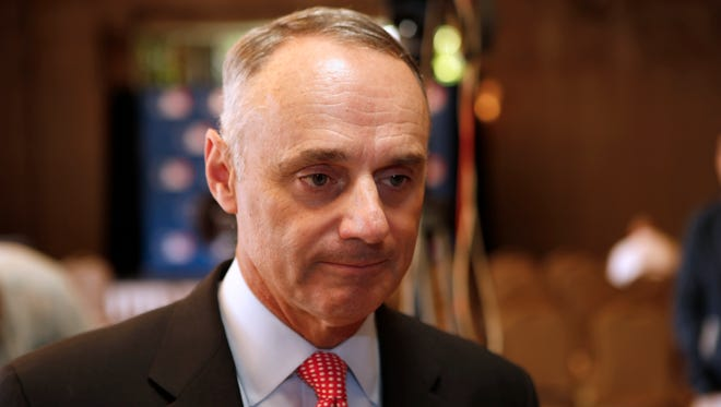 MLB Commissioner Rob Manfred talked to reporters during Spring Training Media Day at the Arizona Biltmore in Phoenix.
